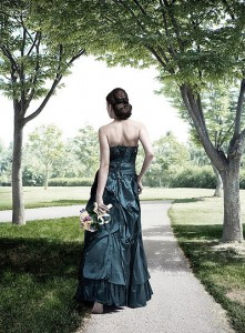 dark colored wedding dress