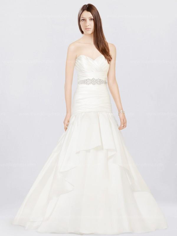 Organza Fit N Flare Wedding Dress With Sash