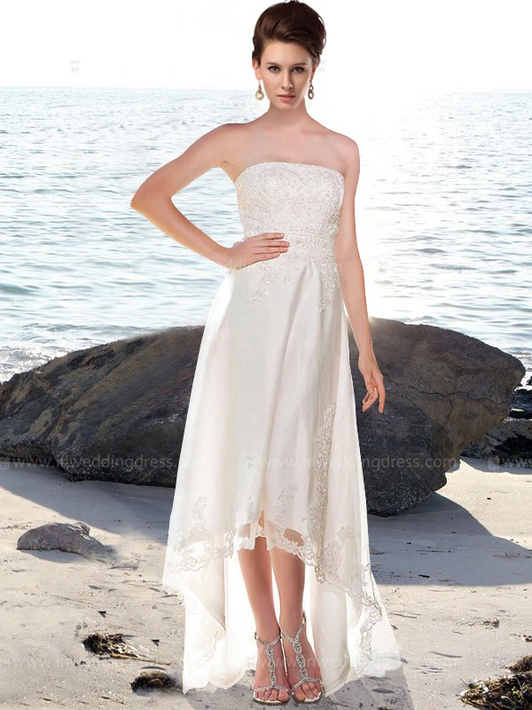 Strapless High-Low Beach Wedding Dress BC721