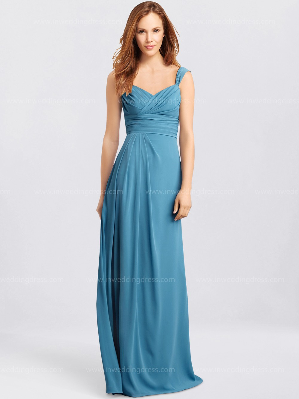 Formal Chiffon Maids Dresses with Cap Sleeves