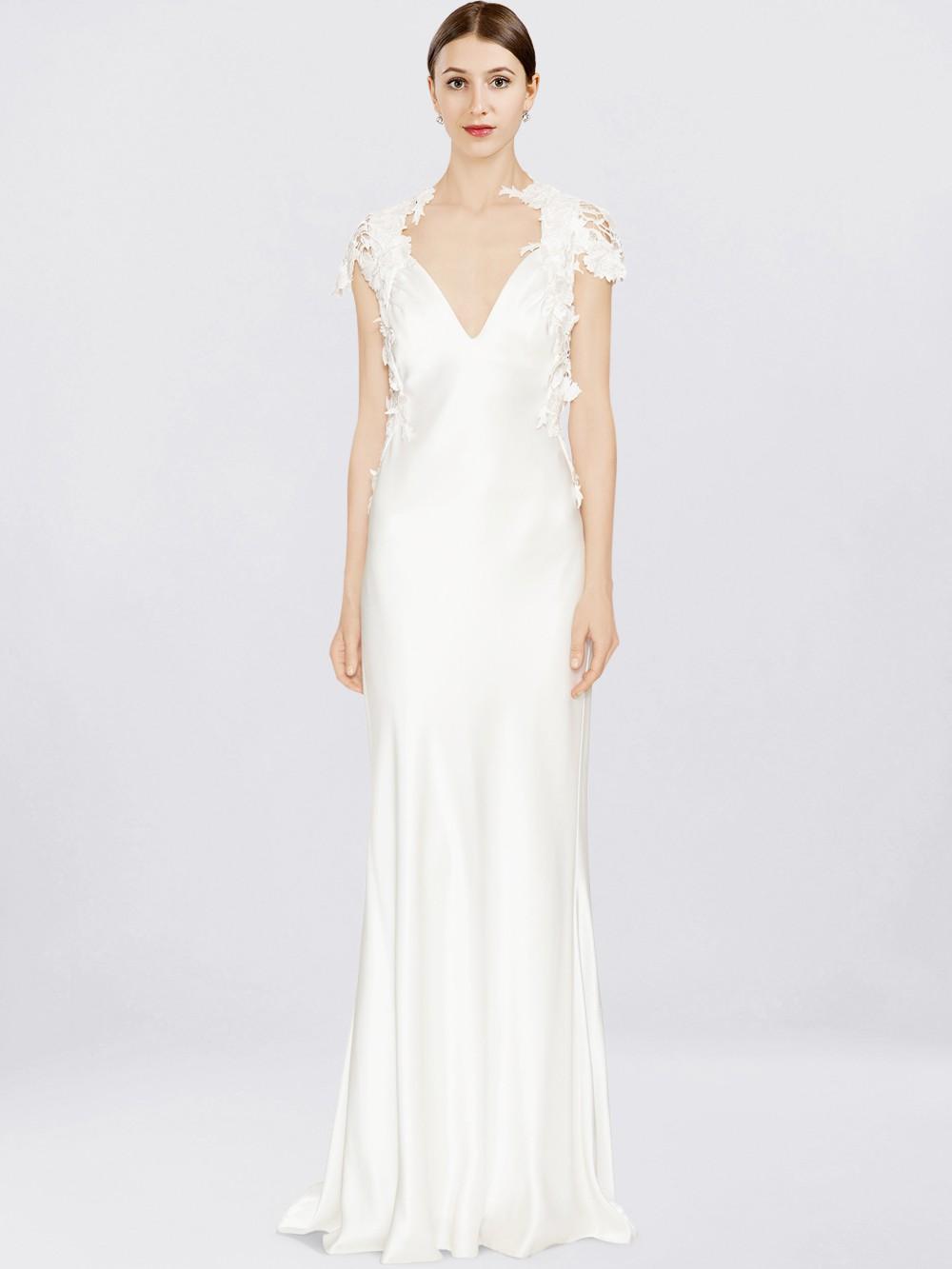 Lace Cap Sleeve Wedding Dress $239