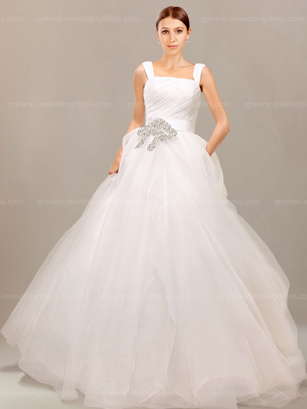 Corset Ball Gown Wedding Dress with Cap Sleeves $255