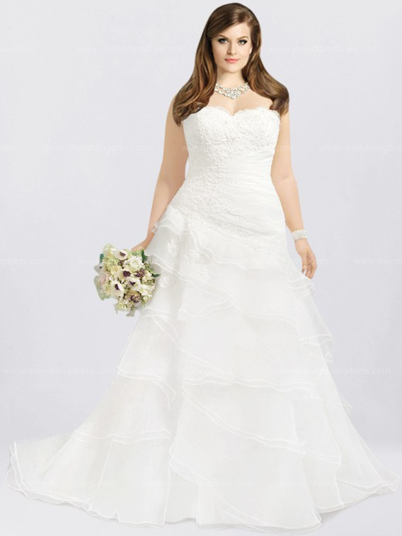 Vintage Organza Plus Size Wedding Dress $296
