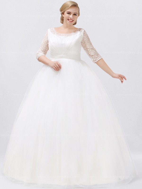 Simple Plus Size Wedding Dress with 3/4 Sleeves PS161