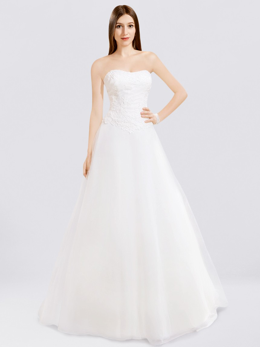 Simple Strapless Wedding Gown BC139
