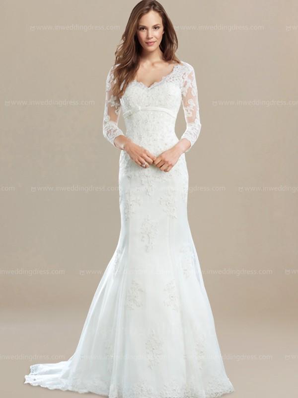 3/4 sleeves Lace Vintage Wedding Dress $272